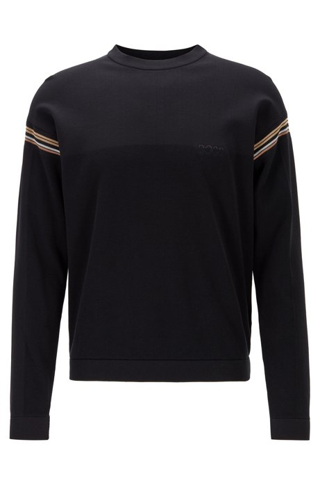 Relaxed-fit sweater with stripe detailing, Black