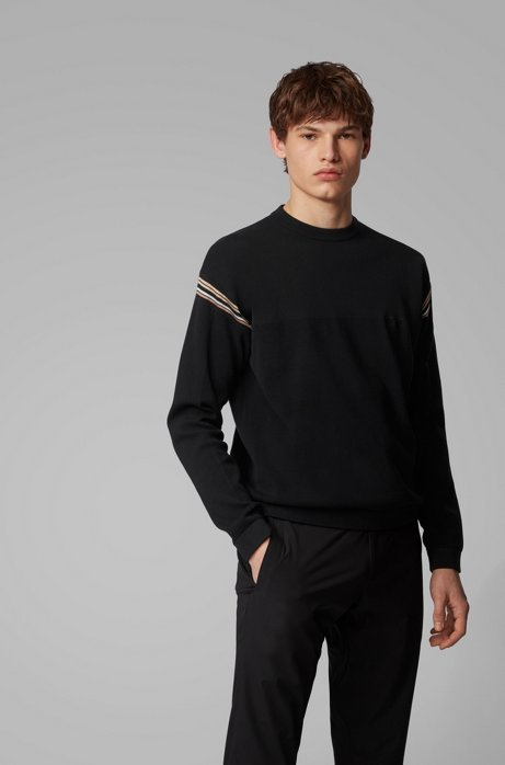 Pull Relaxed Fit à rayures, Noir