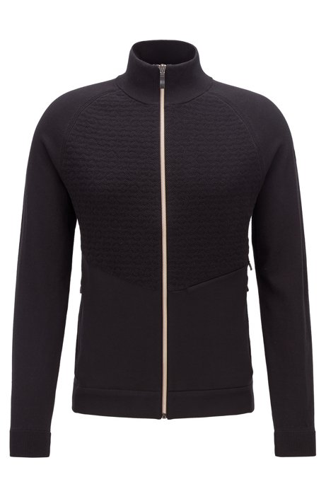 Zip-through sweater with body-mapping and logo details, Black