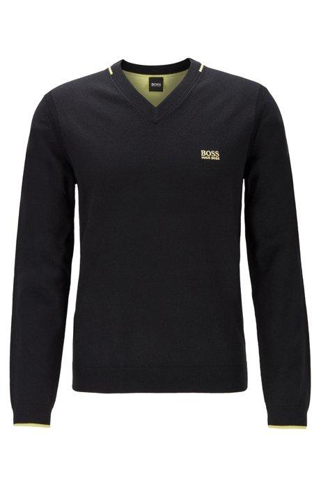 Regular-fit V-neck sweater with contrast detailing, Black