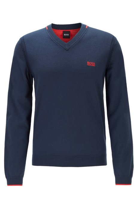 Regular-fit V-neck sweater with contrast detailing, Dark Blue