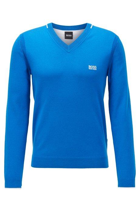 Pullover mit V-Ausschnitt und kontrastfarbenen Details, Blau