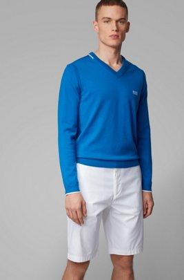 Regular-fit V-neck sweater with contrast detailing, Blue
