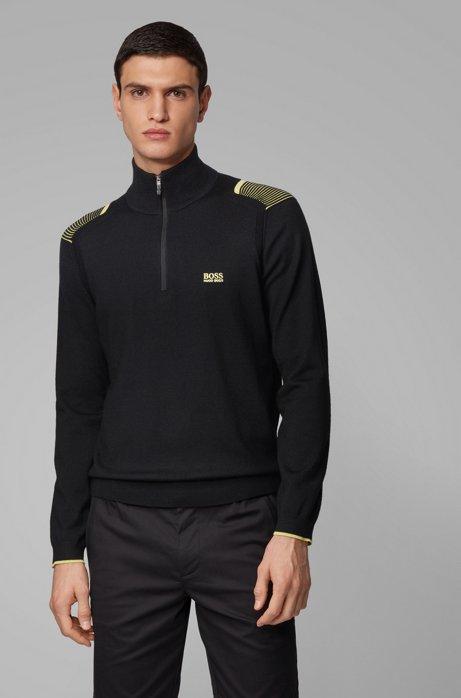 Pullover mit kontrastfarbenen Streifen-Details, Schwarz