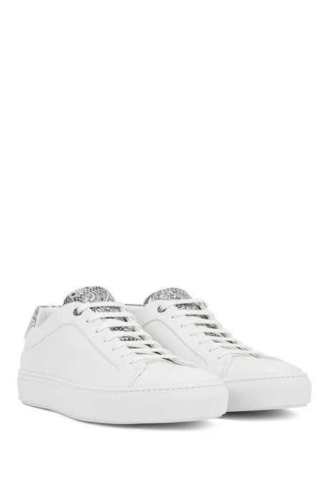 Italian-crafted low-top trainers with Meissen print, White
