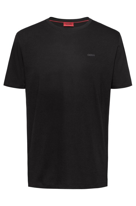 Cotton-jersey T-shirt with reversed logo, Black