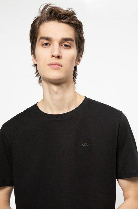 T-Shirt aus Baumwoll-Jersey mit spiegelverkehrtem Logo, Schwarz