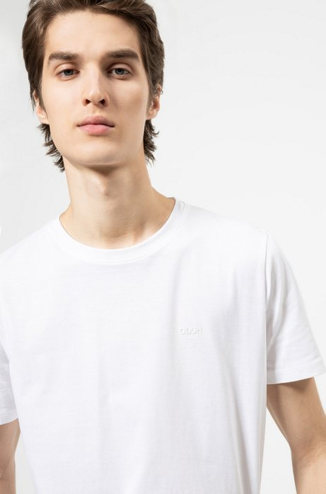 Cotton-jersey T-shirt with reversed logo, White