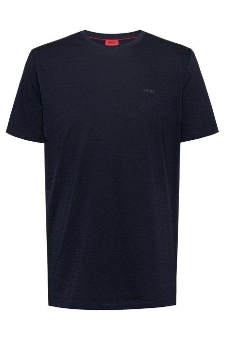 Cotton-jersey T-shirt with reversed logo, Dark Blue