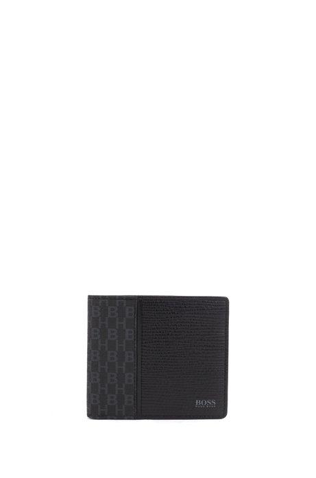 Portefeuille pliable en cuir embossé et tissu monogrammé, Noir