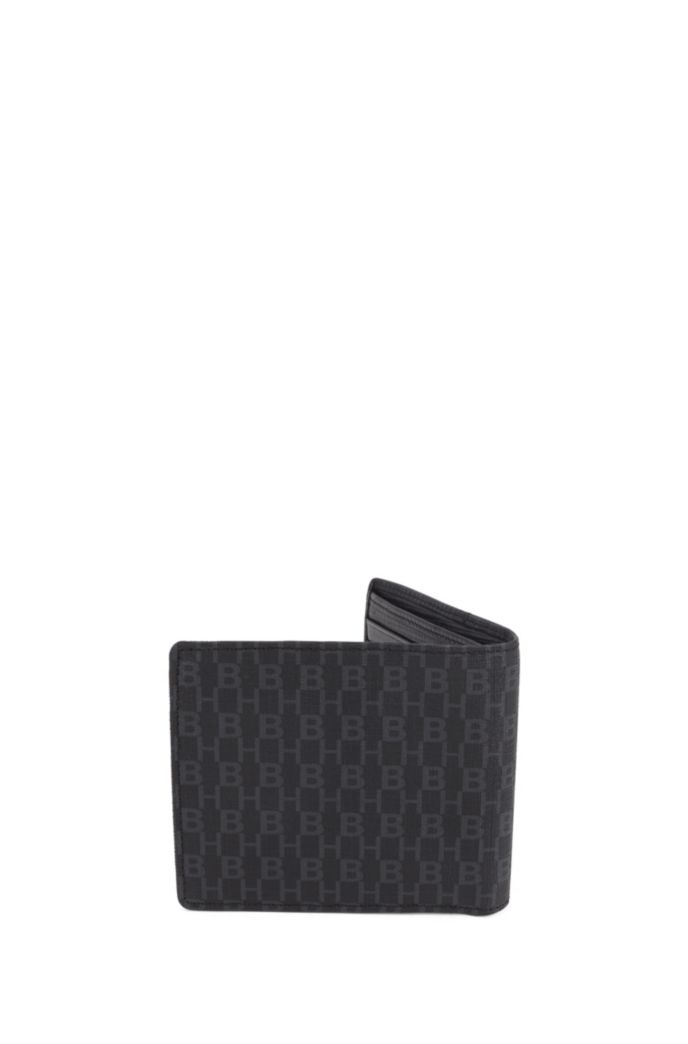 Billfold wallet in embossed leather and monogram fabric