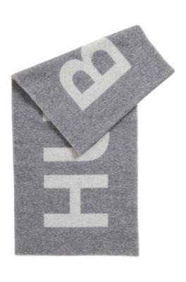 Écharpe à logo jacquard en laine mélangée brossée, Gris