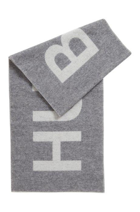 Sjaal van een geborstelde wolmix met logo in jacquard, Grijs