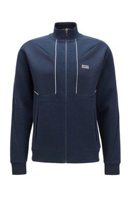 Regular-fit sweatshirt met gestikt artwork en logoprint, Donkerblauw