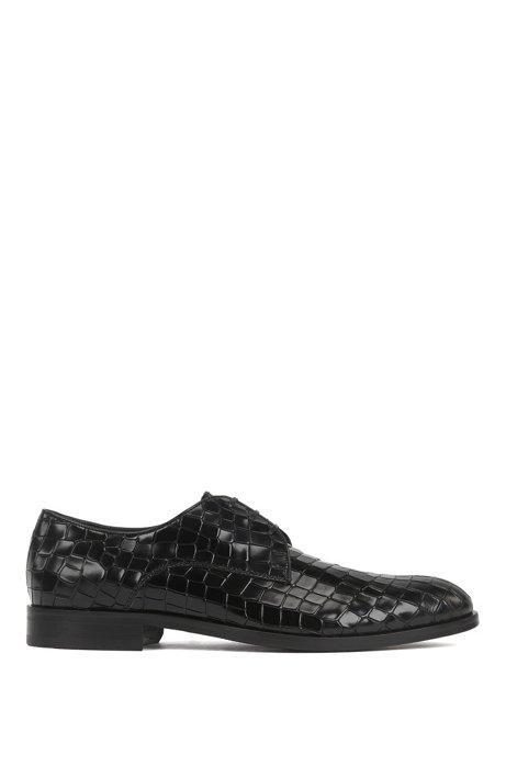 Chaussures derby en cuir de veau brillant à imprimé croco, Noir