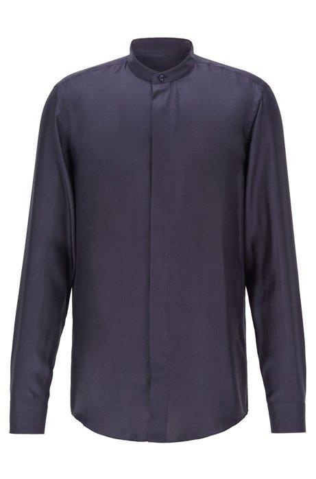 Slim-fit evening shirt in Italian silk twill, Dark Blue