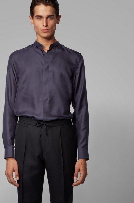 Chemise de soirée Slim Fit en twill de soie italien, Bleu foncé