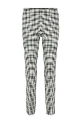 Regular-fit checked trousers in Portuguese stretch twill, Patterned