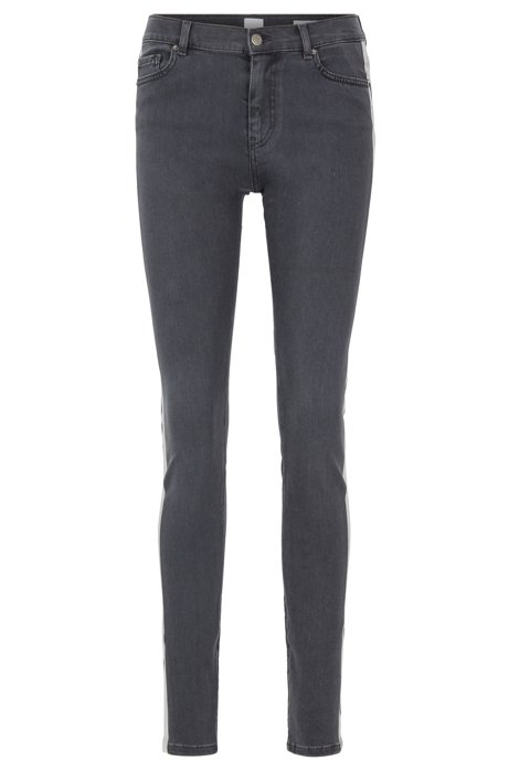 Slim-fit grey stretch-denim jeans with side-seam stripe, Dark Grey