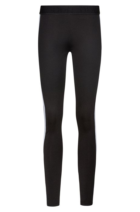 Leggings extra slim fit con paneles laterales con logo, Negro