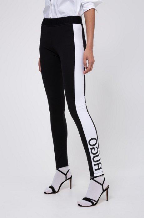 Extra Slim-Fit Leggings mit Logo-Einsätzen an den Seiten, Schwarz