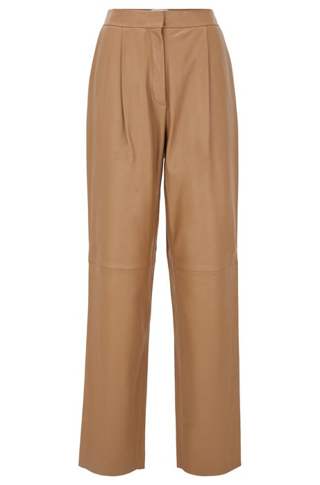 Regular-fit trousers in plongé leather, Light Brown