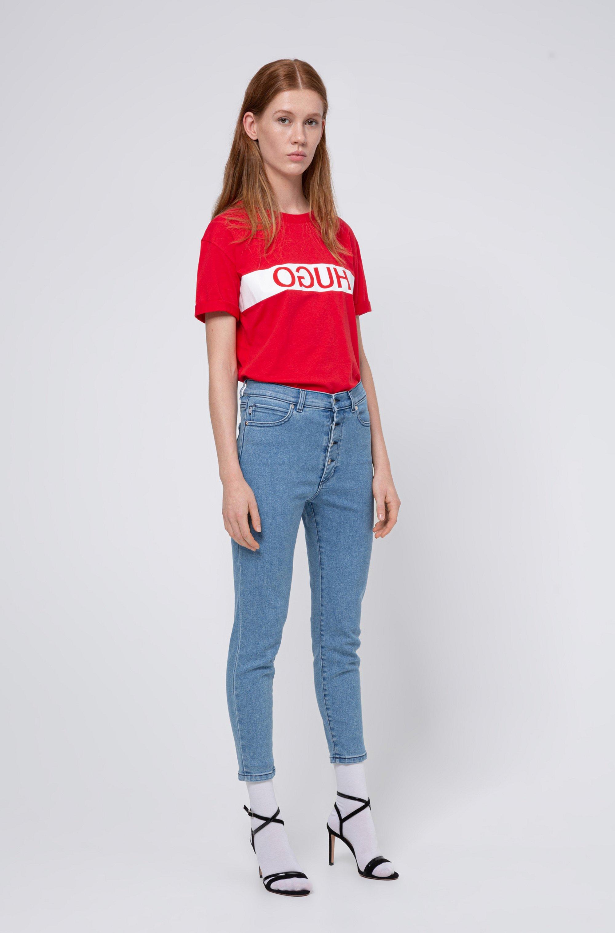 Slim-fit T-shirt van Recot®-katoen met gespiegeld logo