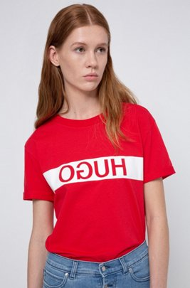 Slim-fit T-shirt van Recot®-katoen met gespiegeld logo, Rood