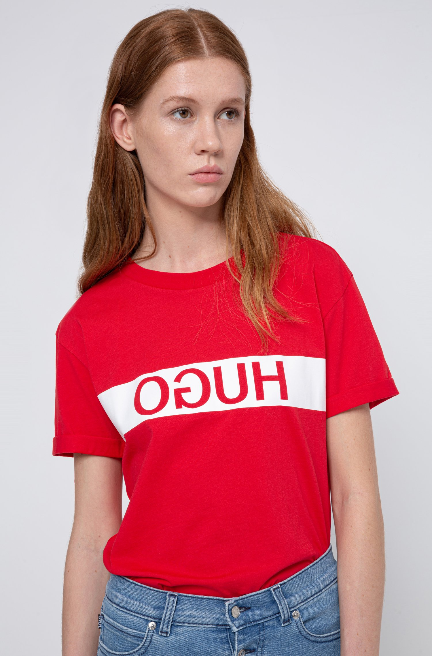Reverse-logo slim-fit T-shirt in Recot® cotton, Red