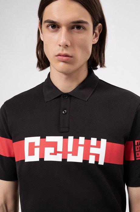 Polo Regular Fit avec logo inversé, Noir