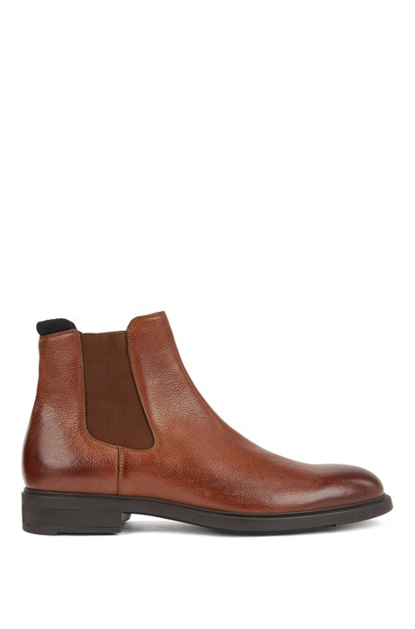 Italian-made Chelsea boots in leather with Outlast® lining, Brown