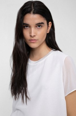 Short-sleeved jersey top with chiffon overlay, White