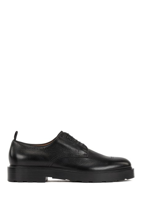 Italian-made Derby shoes in tumbled leather with rubber heel, Black
