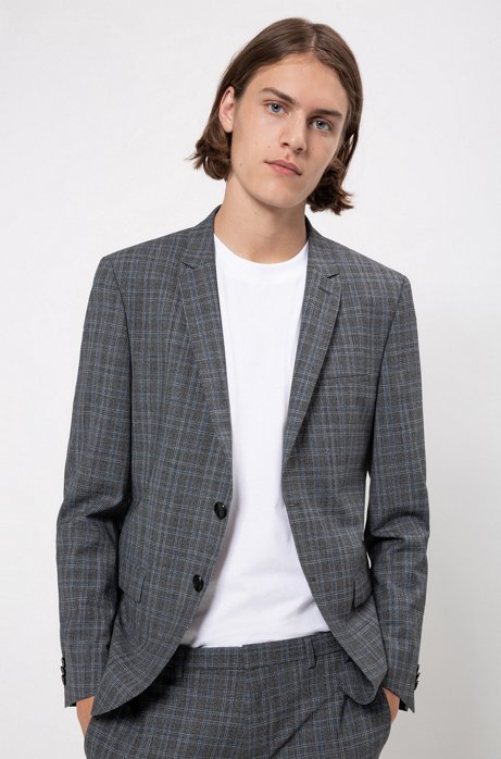 Extra-slim-fit checked jacket in bi-stretch fabric, Patterned