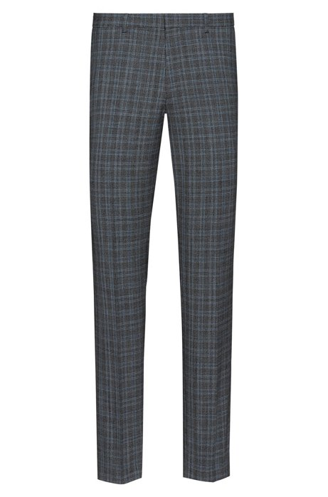 Extra-slim-fit trousers in a checked wool blend, Patterned