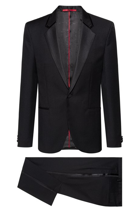 Extra-slim-fit tuxedo in patterned virgin-wool serge, Black