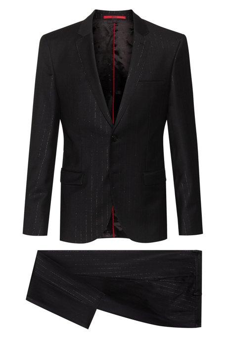 Costume Extra Slim Fit en laine mélangée à rayures métallisées, Noir