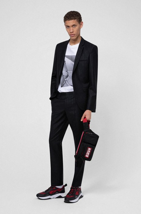 Extra-slim-fit wool-blend suit with metallic stripes, Black