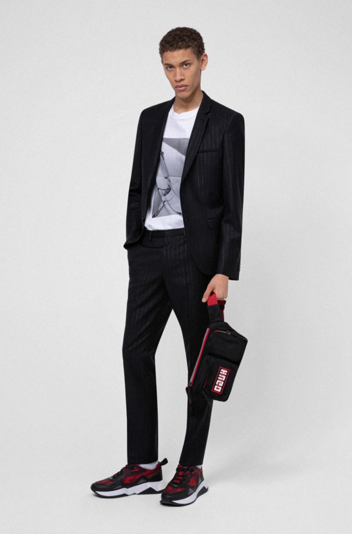 Extra-slim-fit wool-blend suit with metallic stripes