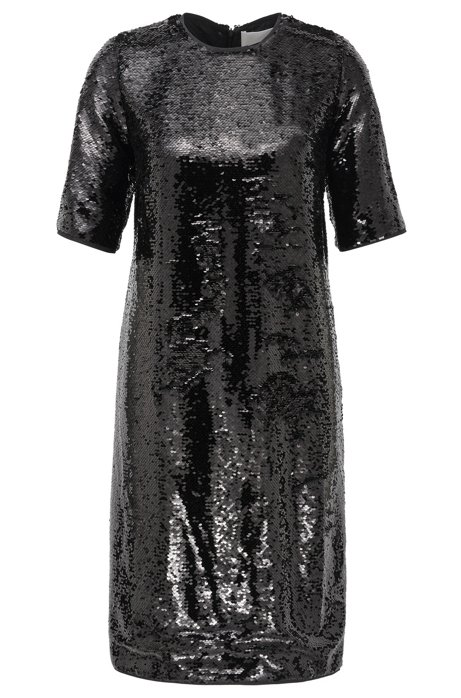 Sparkly T-shirt dress with all-over sequins, Black