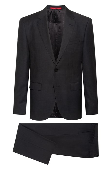 Regular-fit suit in micro-patterned virgin-wool serge, Anthracite