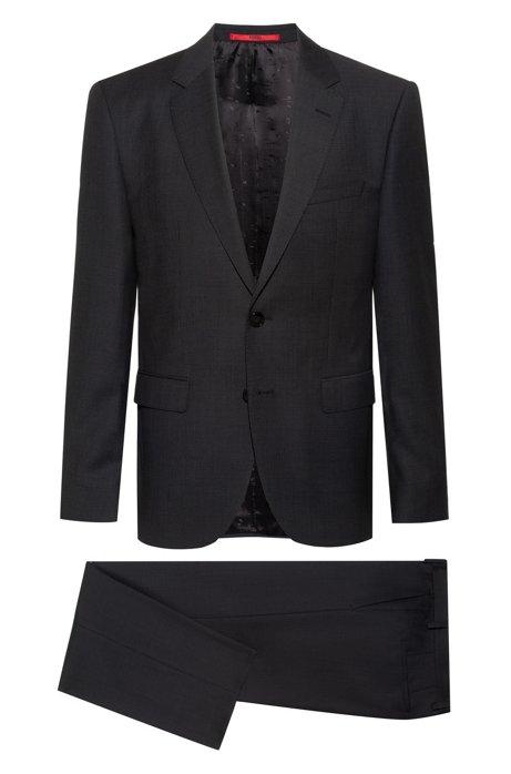 Fein gemusterter Regular-Fit Anzug aus Schurwoll-Serge, Anthrazit