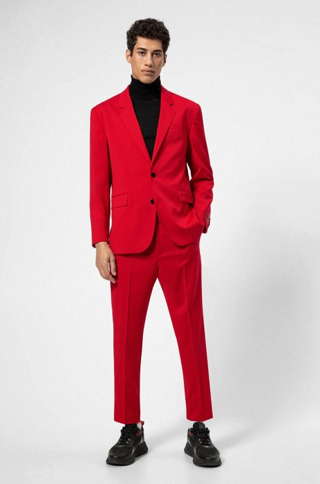 Relaxed-fit suit in virgin wool with reverse-logo patch, Red