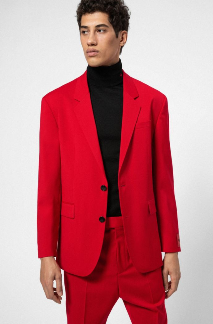 Relaxed-fit suit in virgin wool with reverse-logo patch