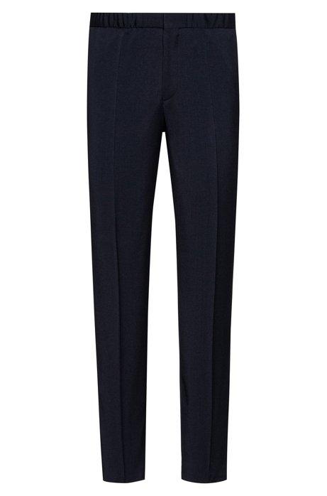 Extra slim-fit broek met streep met dessin opzij, Donkerblauw