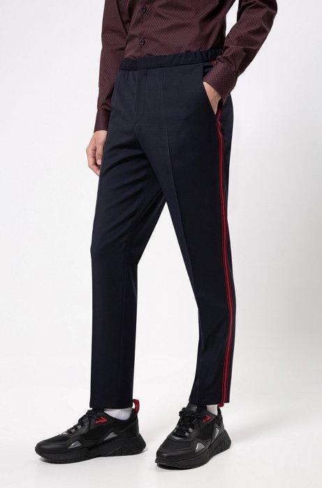 Pantalon Extra Slim Fit avec galon rayé sur les côtés, Bleu foncé
