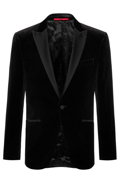 Slim-fit evening jacket in velvet, Black