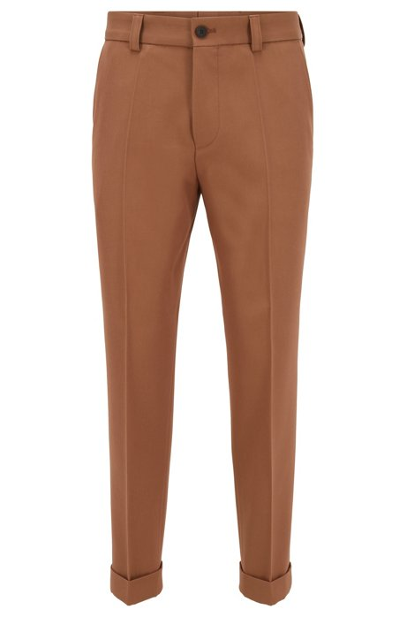 Relaxed-fit cropped trousers with turn-ups, Beige