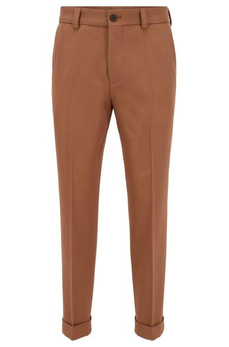 Pantalones relaxed fit con vueltas en los bajos, Beige