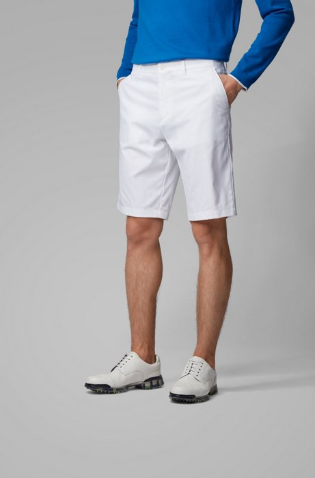Short Regular Fit en twill de jersey stretch anti-humidité, Blanc